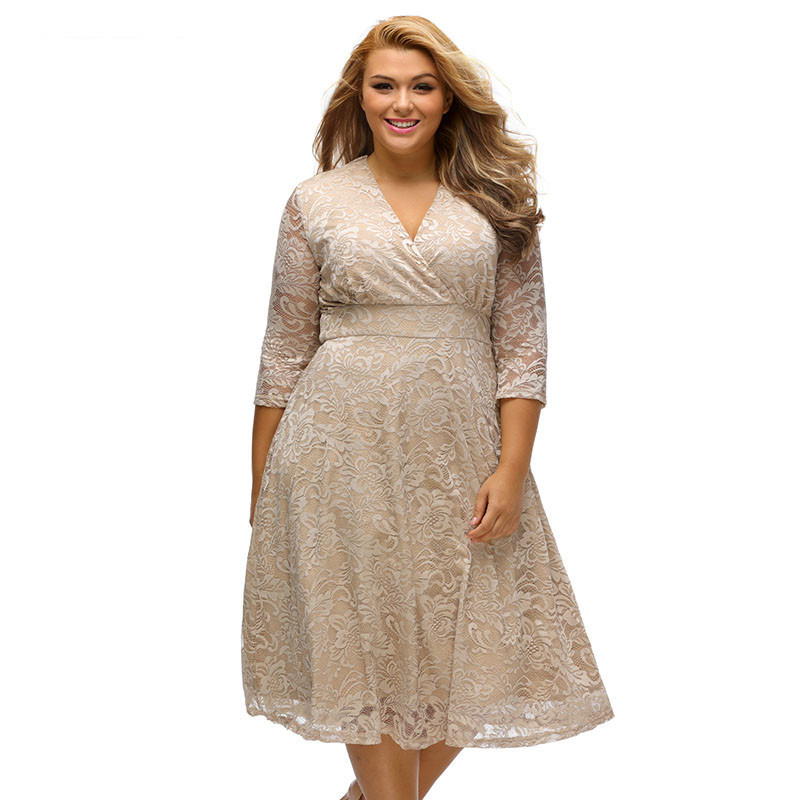 Large Size Women V Neck Vintage Lace Midi Dress Plus Size Party