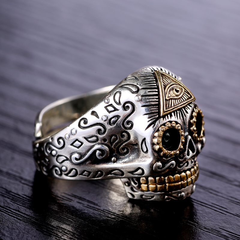 S925 silver gilt silver eye of God Horus retro opening skull ring finger male domineering personality s925 sterling silver skull ring metrosexual officers personality of world war ii punk man retro silver ring opening