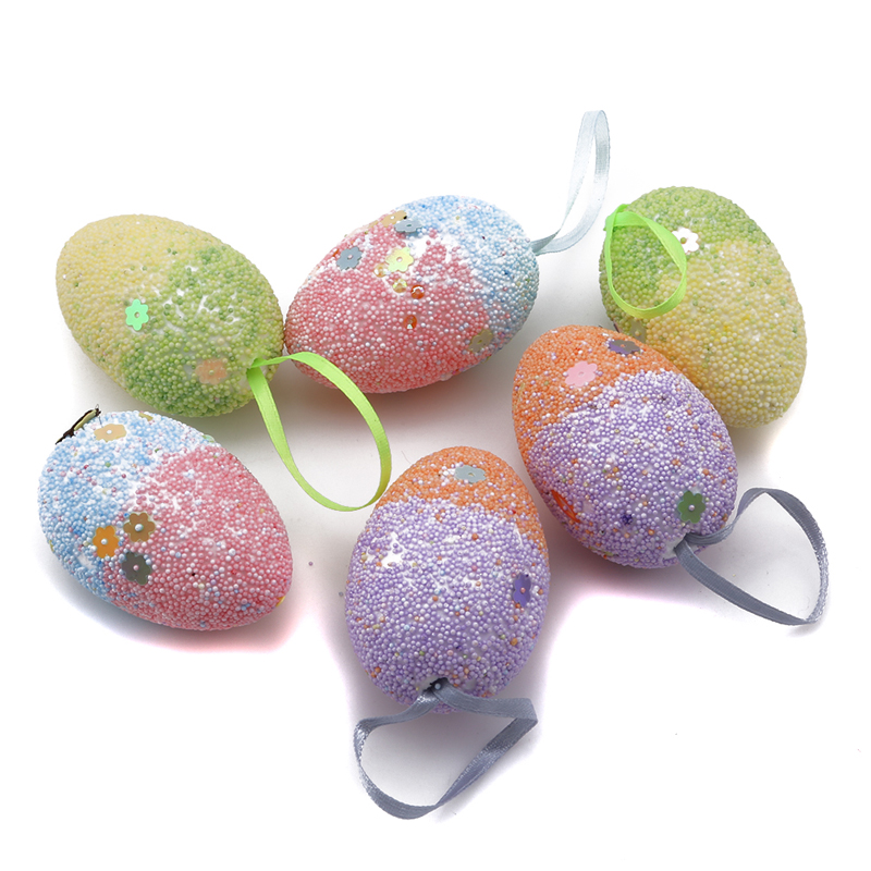 New Favor Home Decor DIY Crafts Hand Painted Hanging Ornaments Foam Easter Eggs
