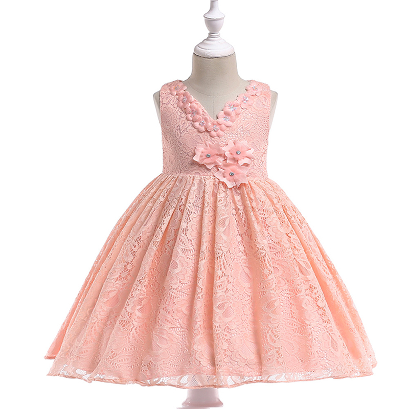 Cielarko Baby Girls Dress Party Solid Formal Birthday Christmas Princess Dress Cotton Lace Vestido Kids Dresses For Girls 3-8Y bbwowlin pink baby girls formal dresses vestido infantil for 0 2 years birthday pary christmas for kids princess dress 9055