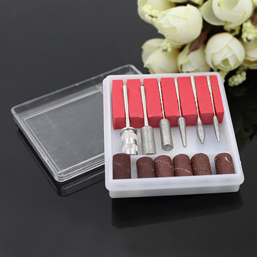 12pcs Professional Nail Art Beauty Salon Manicure Drills Files Bits Tool Set Kit with plastic Case 5WA2 7H4Z image