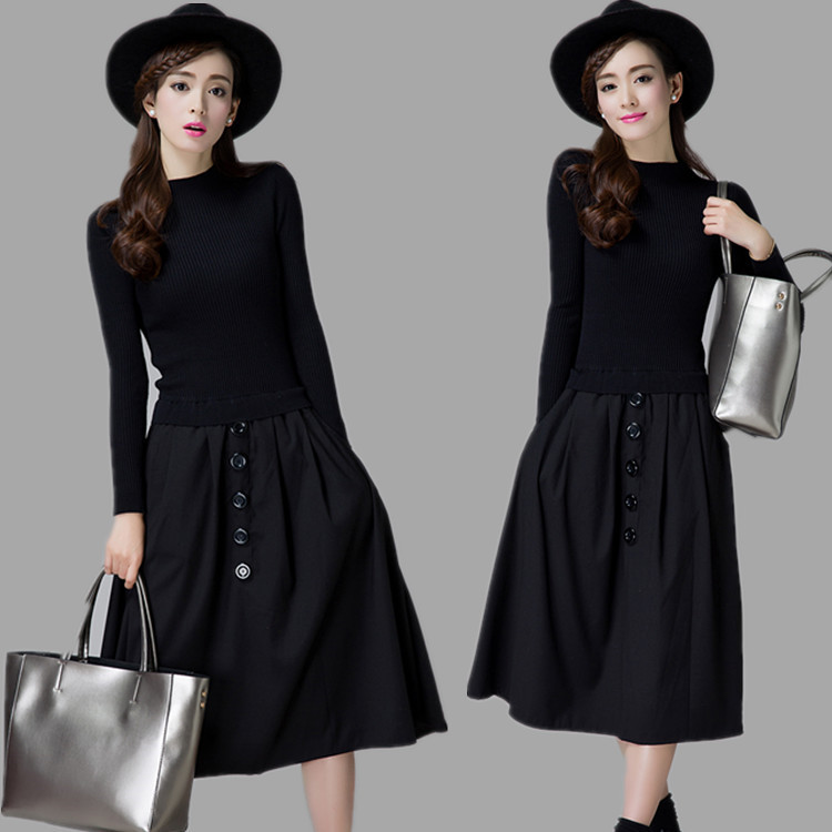 2017 Autumn Winter Women Midi Dress Round Neck Knitted Patchwork Sweater Dress Casual Elegant Long Sleeve A-Line Dresses 0817