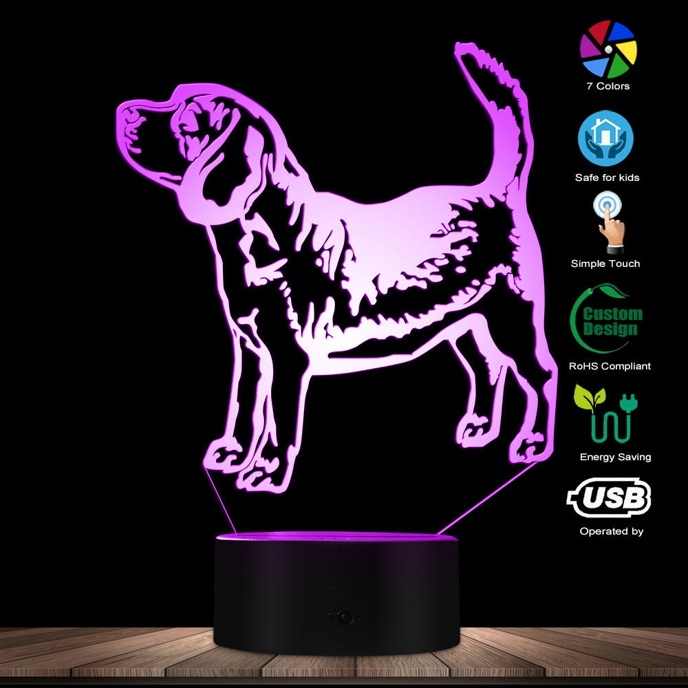 Custom Pitbull Name LED Night Lamp Decor Pit Bull Terrier Colour Changing LED Acrylic Light Dog Breed 3D Optical Illusion Light
