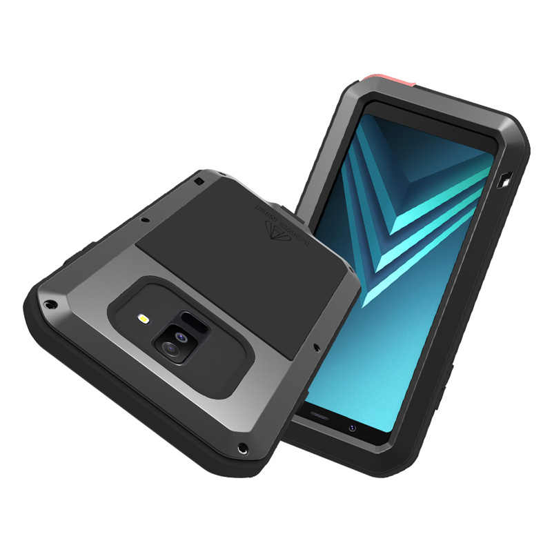 reputable site 5b36c fbbc6 2018 A6 Life Waterproof Shockproof Metal Armor Case for Samsung Galaxy A6  Plus 2018 LOVE MEI Water Resistant Cover With Glass