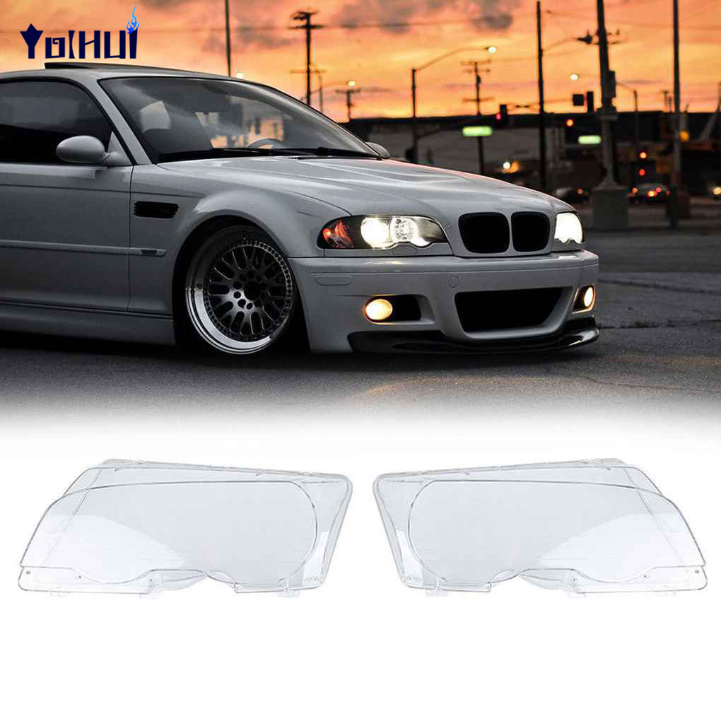 For BMW E46 Cabridet 2-Door 98-01 1 Pair Clear Front Headlight Lens Cover Headlamp Lenses Protector Shell headlight clear lens cover 2 pcs front headlamp plastic shell for bmw e46 2 door 1999 2002 left