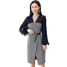 Женское платье с длинным рукавом и v образным вырезом