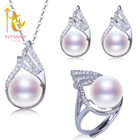 [NYMPH]Fresh Water Pearl Jewelry Set Natural 10 11mm Pearl Pendant Earrings Rings Wedding Party Gift With Box[T220]