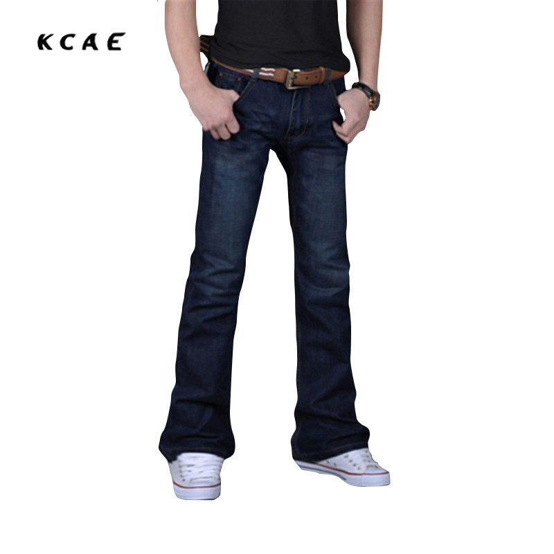 ФОТО 2017 New High Quality Male Casual Business Flare Jeans Men's Loose Mid High Quality Boot Cut Pants Plus Size 27-40