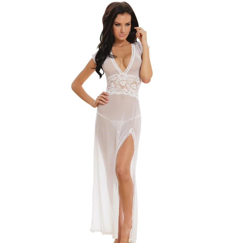 Women Sexy Long Dress Nightgown Sheer Transparent Mesh Back Of V-neck Dresses Nightie Sleepwear Lingerie +Thong Set