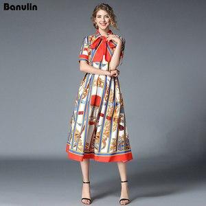 Image 3 - Banulinคุณภาพสูง 2020 ใหม่ล่าสุดรันเวย์Designerฤดูร้อนของผู้หญิงแขนสั้นเสื้อคอพิมพ์ลายBow MIDIชุด