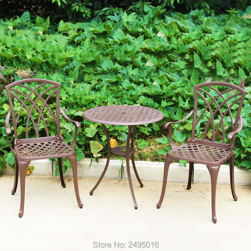 3 Piece Cast Aluminum Patio Furniture Chair And Table Outdoor Furniture  Fashion Design For Garden
