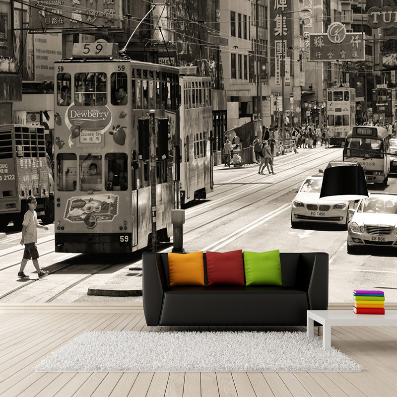 Custom Wallpaper 3D Retro Hong Kong Street View Old Photos