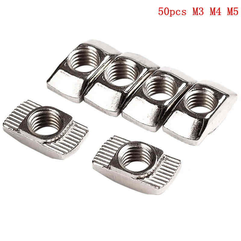 50Pcs M3/M4/M5*10*6 For 20 Series T Slot Nut Carbon Steel T Sliding Nut Hammer Head Nut Fasten Connector High Strength Hardness