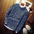 Knitted Pullover Men Long Sleeve Round Neck Solid S312 Christmas Sweater Men Pullover Men Male Sweater Pull Homme Marque