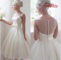 Famous Designer 2017 Ivory Short Wedding Dresses With Tank Sheer See Through Back Knee Length Bridal