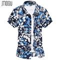 MOGU Summer Dresses Large Size Men's Shirt Casual Shirt 2017 Men Short Sleeve Shirt Men Floral Print Hawaiian Shirt Men Shirt