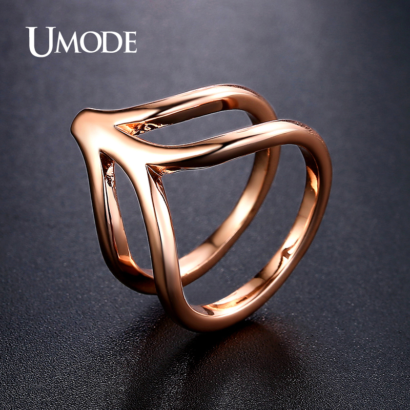 font b UMODE b font Brand Jewelry Fashion Punk Rose Gold Plated Simulated Diamond Cocktail