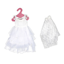 Handmade White Wedding Dresses Princess Gown Outfits Clothes Skirt with Head Veil Doll Accessories for 18 Doll Accessories Toy handmade pure white wedding gown with sequin copy pearl beads gorgeous dress limited edition clothes for barbie doll kurhn fr