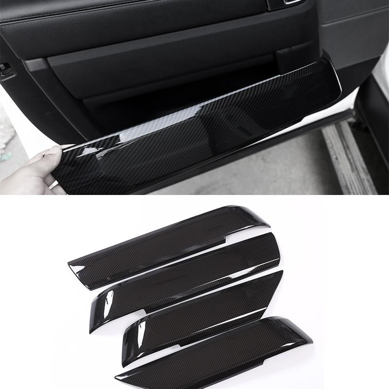 For Land Rover Range Rover Sport RR Sport 2014 2017 4pcs Carbon Fiber Texture Door Handle Panel Armrest Cover Decoration Trim