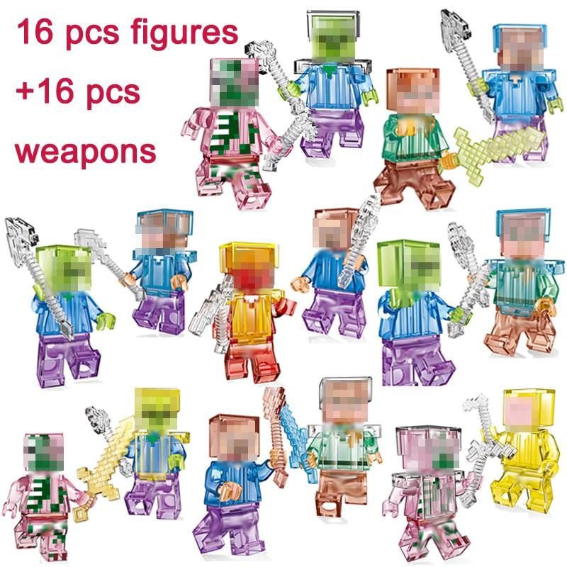 Mon Monde 16 Pcs Chiffres Avec Armes Cristal Zombie Steve Squelette Compatible Minecraft Bloc De Construction Jouets Cadeau Enfants # E