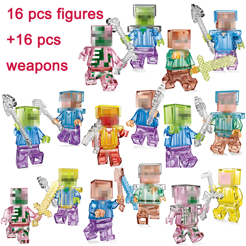 My World 16Pcs Figures With Weapons Crystal Zombie Steve Skeleton Compatible Minecraft Building Block Toys Gift Kids #E 8pcs my world minecraft legoelieds steve creeper skeleton zombie pigman snow golem enderman minifigures building blocks toy gift page 3
