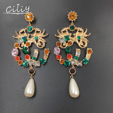 Ciliy Double Dragon Drop Earrings Women New Fashion Colorful Crystal Pearl Jewelry Inlay Zircon S08104447