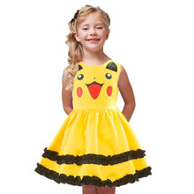 Janpan vestido anime pikachu cospay, vestido para crianças, bebês, meninas, festa de halloween, pokemon, roupa bonito, laço, babados, vestido de baile