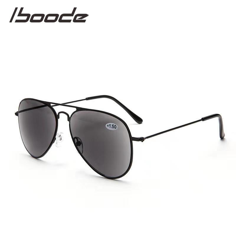 IBOODE Pilot Metal Sun Reading Glasses Men Women Presbyopic Eyeglasses Male Female Hyperopia Eyewear Anti UV Spectacles