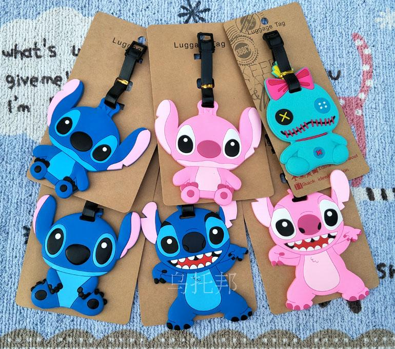Stitch Angel Anime Travel Accessories Luggage Tag Suitcase ID Address Portable Tags Holder Baggage Label Gifts New