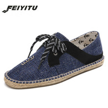 feiyitu Men Casual Shoes  Summer Handmade Breathable Hemp Concise Soft Flat Fashion Mens Lace-up shoes