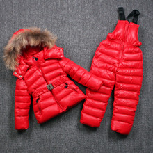 Brand Winter Clothing Set for Boys Natural Fur Down Cotton Coat +Overalls Russian Warm Windproof Snowsuit Kids Children Ski Suit