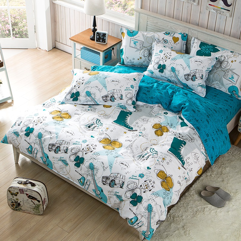 Graffiti bedding set scrawl blue bed set 4pcs duvet cover + flat sheet 1.8m bed linens AB side bedclothes Cartoon home bed cover