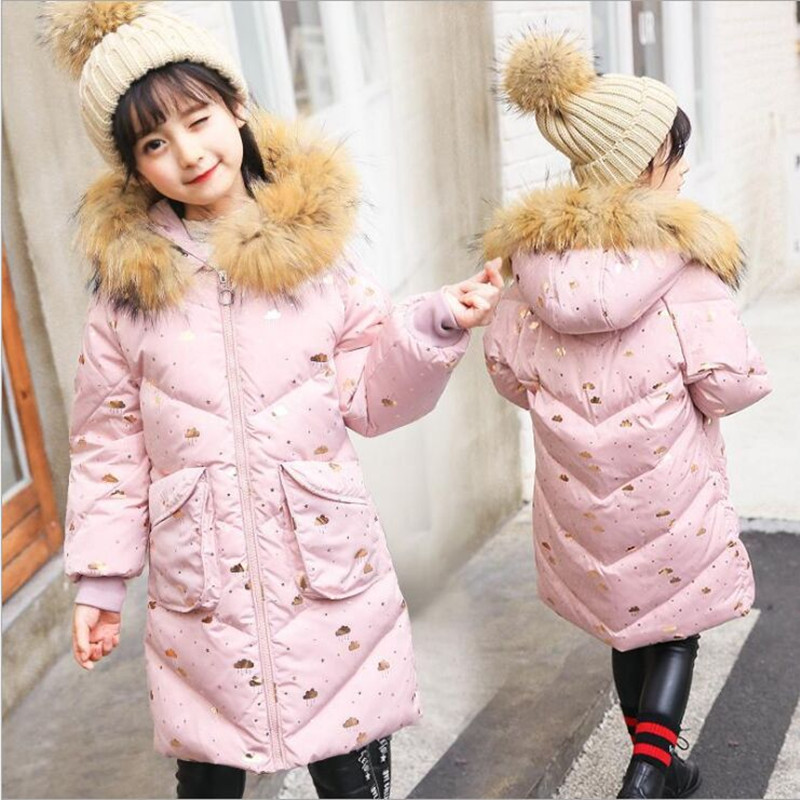 2018 New Children's Down Jacket Girls Long Thick Coat Jacket Fashion Floral Girls Down & Parkas Winter Jacket Parka Fir 8-12T 2017 winter women jacket down new fashion long sleeve hooded thick warm short coat slim big yards female autumn parkas ladies242