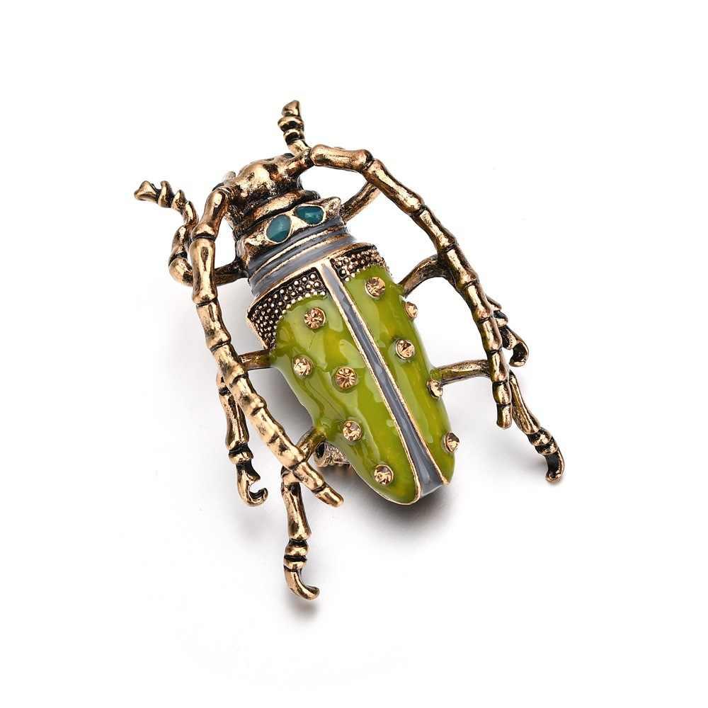2018 ใหม่สีเขียวแมลงเข็มกลัดสำหรับผู้หญิงอุปกรณ์เสริมเครื่องประดับเก่า Vintage โลหะด้วงเคลือบ Pin Badge เครื่องประดับ drop shipping