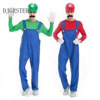 DJGRSTER Funy Cosplay Costume Super Mario Luigi Brothers Fancy Top Pant Party Costume Cute Costume Adult