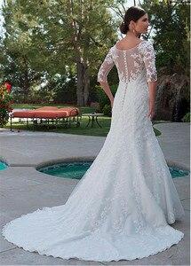 Image 3 - Elegante tule bateau decote sereia vestido de casamento com apliques de renda frisada meia mangas vestido de noiva com cristais