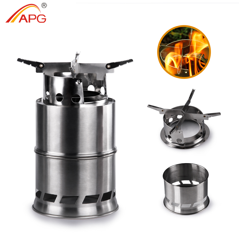 APG Folding wood gasifier Stainless Steel Solidified Alcohol Stove Backpacking Survival Firewood Burning Cooking System image