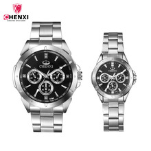 Black Couple watch Men Women Lovers Wrist Watch Top Brand Luxury Men's steel Quartz Wristwatch Male Female Sport Clock Gifts PJ