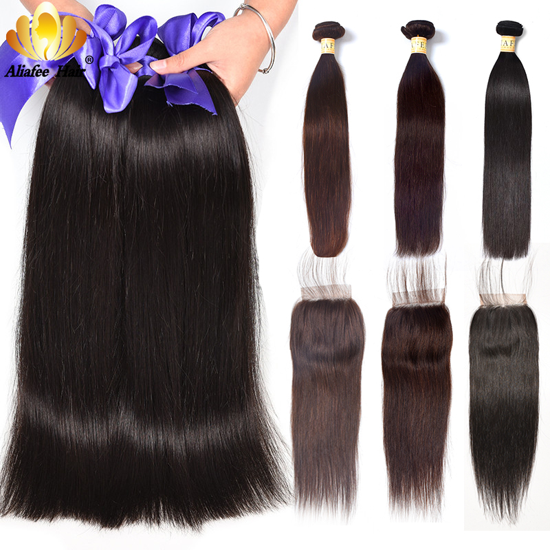Aliafee Brasilian Straight Hair Bundles Med Closure Non Remy Hair - Menneskelig hår (for svart)