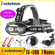 Headlight 30000 Lumen headlamp 4* XM-L T6 +2*cob+2*Red LED Head Lamp Flashlight Torch Lanterna with batteries charger z91(China)