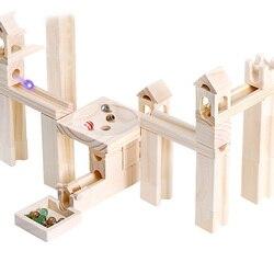 Di legno marmo pista building blocks Per Bambini educativi di montaggio palla blocchi di costruzione blocchi di costruzione in legno