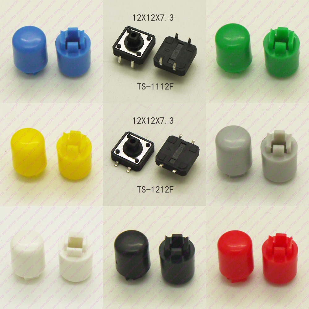 10PCS Tact switch 12X12mm H=16.8MM With Plastic Cap 4PIN SMD/DIP Momentary Tactile Push Button Switch Micro Key Button 245pcs 490pcs 49models momentary tactile switch push button micro switch for laptop tv tablet pc key button switches