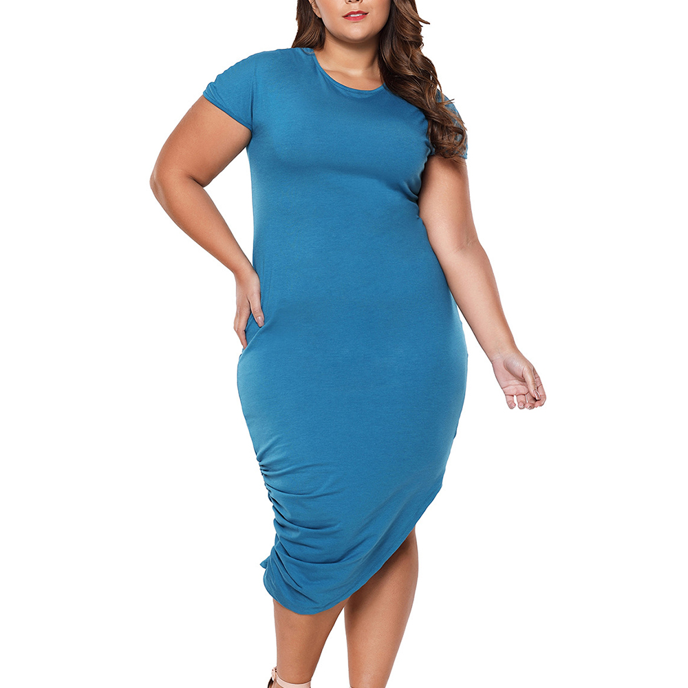 Plus Size Asymmetric Dress for Woman Big Size Bodycon Knitted Mid-calf Dresses Ladies Simple Evening Vestidos Brief Pleated Gown plus size double pockets knitted dress