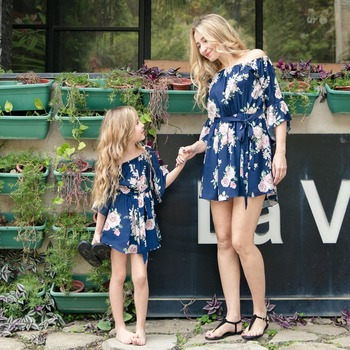 casual mother daughter dresses above knee family look mommy and me matching clothes outfits mom mum mama daughter dress clothing
