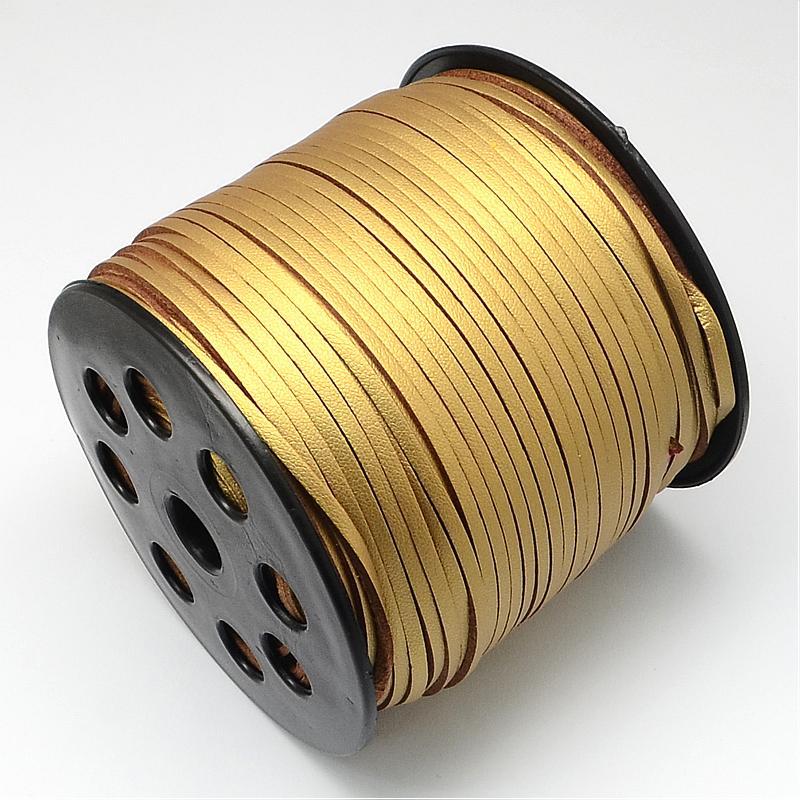 Ювелирных изделий из искусственной замши шнур, одна сторона покрытия с имитацией кожи, золотарник, серебро, 2,7x1,4 мм; около 90 м/roll