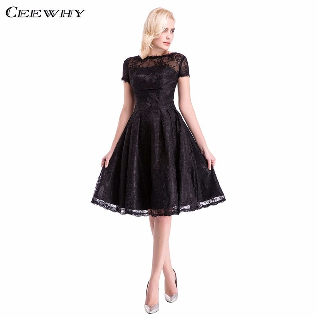 129ee0e9985 Short Sleeves Women Formal Gowns Elegant Black Lace Short Evening Dress  Sexy Party Prom Dresses robe de soiree