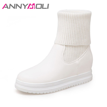 ANNYMOLI Winter Sock Boots Women 2017 Platform Wedges Heel Boots Fur Warm Mid-Calf Boots Ladies Autumn Shoes White Black 34-43