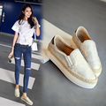 Новый 2016 Моды Толстой Подошве Женщина Мокасины Лето Корея Женщины квартиры Обувь Slip on Плетеный Рыбак Обувь Зима Теплая Женщина обуви