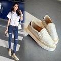 Novo 2016 Moda Mulher Sapatos de Solas Grossas Verão Coréia Mulheres Sapatos Flats Deslizar sobre Trançado Pescador Sapatos de Inverno Morno Mulher sapato