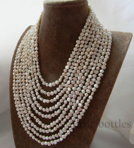 9Strands 6MM White Baroque Freshwater Pearl Necklace